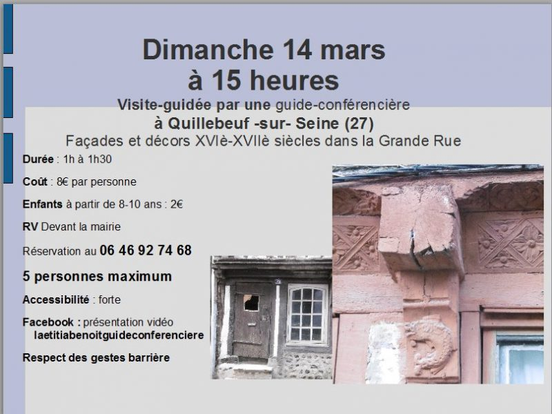 visite guidée 14 mars Quillebeuf sur Seine